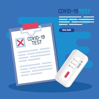 Projeto de documento médico de teste de vírus covid 19 do tema ncov cov e coronavirus