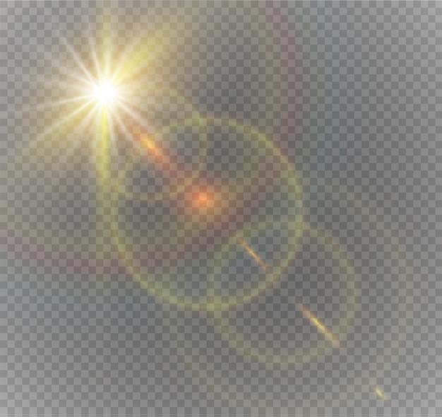 Projeto de efeito de luz especial transparente com reflexo solar frontal dourado abstrato