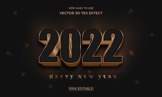 Projeto de efeito de texto 3d de iluminação de ano novo de 2022
