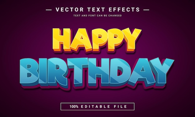 Projeto de efeito de texto de feliz aniversário