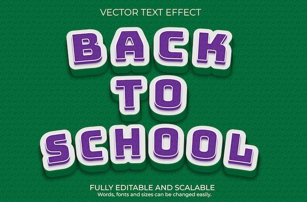 Projeto de efeito de texto editável de volta às aulas de vetor premium