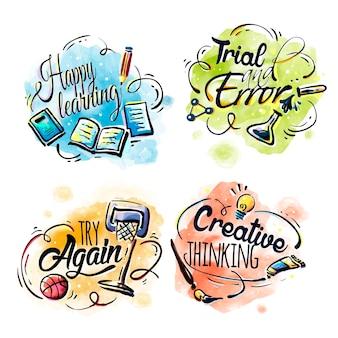 Projeto de elementos de educação, slogan útil com fundo aquarela