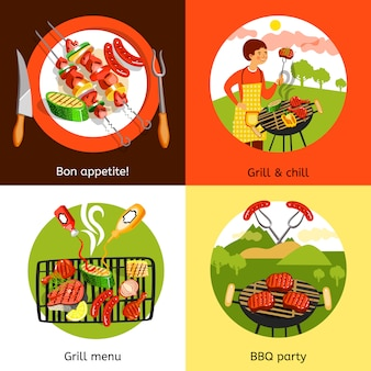 Projeto de elementos de festa de churrasco e caráter