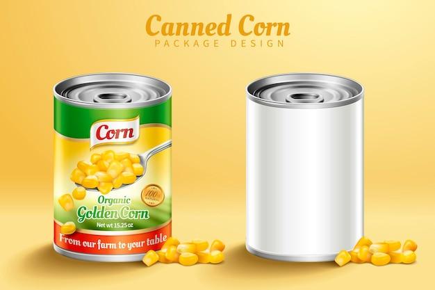 Projeto de embalagem de milho enlatado em ilustração 3d