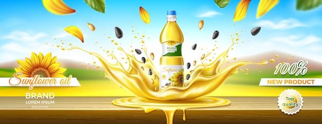 Projeto de embalagem de óleo de girassol efeito splash