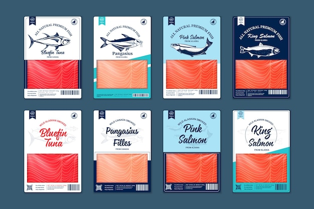 Projeto de embalagem do vetor peixe estilo simples. ilustrações de salmão, pangasius, atum e texturas de carne de peixe