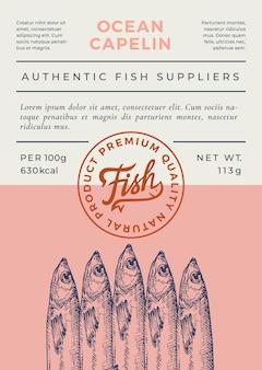 Projeto de embalagem ou rótulo abstrato de peixes do oceano