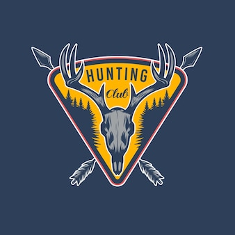 Projeto de emblema de aventura de caça ao veado