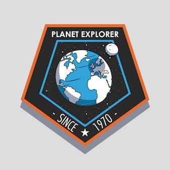 Projeto de emblema de remendo de explorador espacial