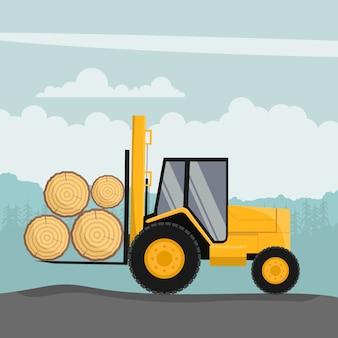 Projeto de empilhadeira todo-o-terreno carregando troncos de árvores
