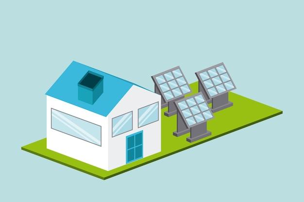 Projeto de energia solar, ilustração vetorial eps10 gráfico