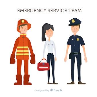 Projeto de equipe de emergência plana