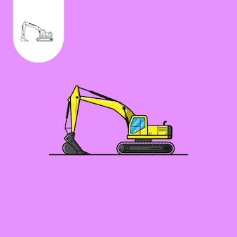 Projeto de escavadeira com fundo roxo ilustração vetorial uso perfeito para design de padrão web