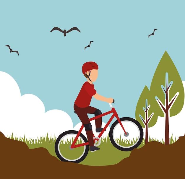 Projeto de esporte de piloto de bicicleta de montanha