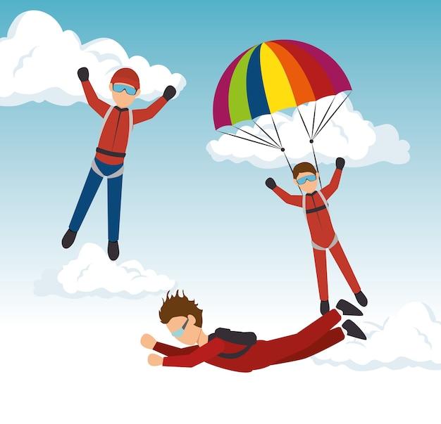Projeto de esporte paraquedista de céu mergulhador