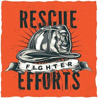 Projeto de etiqueta de t-shirt de bombeiro com ilustração de capacete com machados cruzados. mão ilustrações desenhadas.
