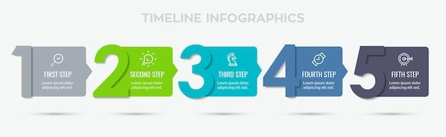 Projeto de etiqueta infográfico com 5 opções ou etapas. infográficos para o conceito de negócio.