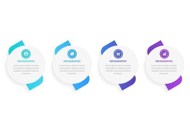 Projeto de etiqueta infográfico com ícones e 4 opções ou etapas de infográficos para o conceito de negócio