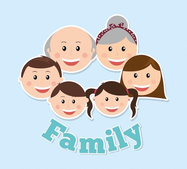 Projeto de família sobre ilustração vetorial de fundo azul