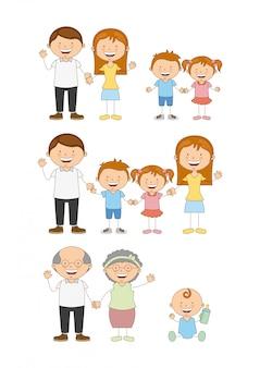 Projeto de família sobre ilustração vetorial de fundo branco