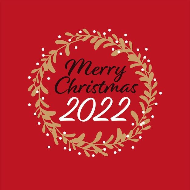 Projeto de felicitações de feliz natal com escrita de mão e coroa de azevinho isolada. ilustração em vetor plana. para cartões, banners, estampas, embalagens, convites, etiquetas.