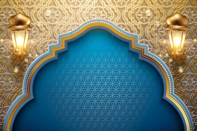 Projeto de feriado árabe com lanternas douradas brilhantes
