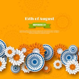 Projeto de feriado do dia da independência indiana. rodas 3d com flores em tricolor tradicional da bandeira indiana. estilo de corte de papel. fundo laranja, ilustração vetorial.