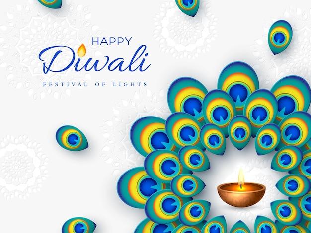 Projeto de feriado do festival de diwali com estilo de corte de papel de pena de pavão e diya - lâmpada a óleo. moldura redonda em fundo branco. ilustração vetorial.