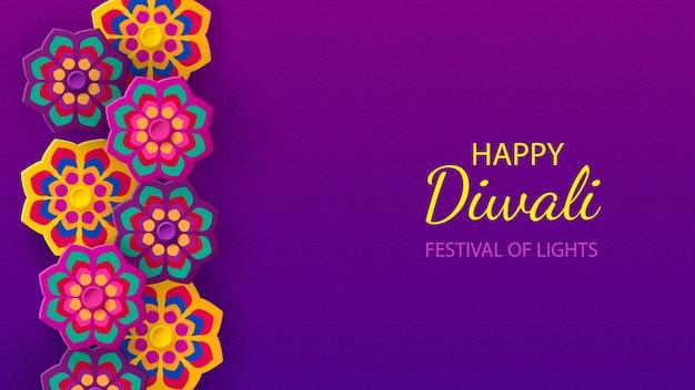 Projeto de feriado do festival de diwali com estilo de corte de papel de rangoli indiano e flores.