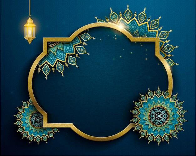Projeto de feriado islâmico com elegantes flores arabescas e lanterna pendurada em uma placa azul em branco