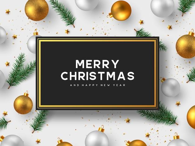 Projeto de férias de natal. bolas 3d realistas, galhos de pinheiro, estrelas douradas e enfeites de natal. plano de fundo de ano novo. ilustração vetorial.