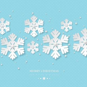 Projeto de férias de natal com flocos de neve de papel cortado