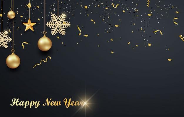 Projeto de férias de natal com papel cortado estilo floco de neve. fundo escuro requintado com flocos de neve dourados. lugar para o seu texto.