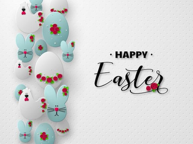 Projeto de férias de páscoa feliz. ovos de corte de papel 3d, coelhos e galinhas decoradas com flores.