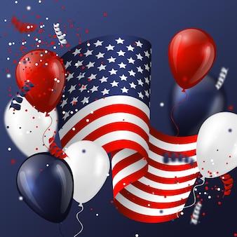 Projeto de férias eua com bandeira, balões e confetes em cores nacionais.
