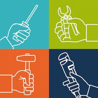 Projeto de ferramentas, ilustração vetorial.