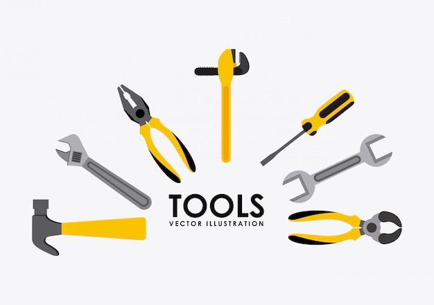 Projeto de ferramentas sobre ilustração vetorial de fundo cinza