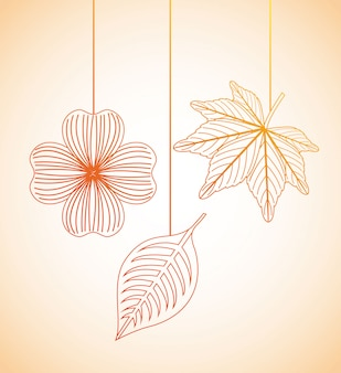 Projeto de flores de outono sobre fundo laranja