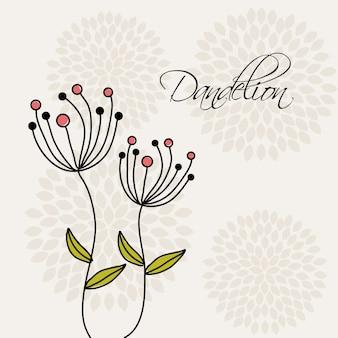 Projeto de flores sobre ilustração vetorial de fundo branco