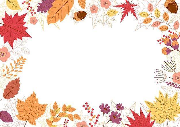 Projeto de folhas de outono em fundo branco