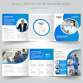 Projeto de folheto dobrável com três dobras quadrada médica