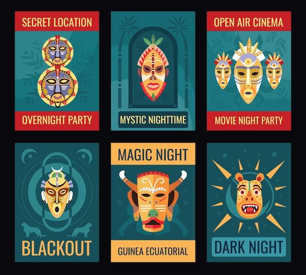 Projeto de folhetos de festa à noite com máscaras tribais.