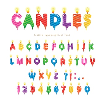 Projeto de fonte colorida de velas de aniversário