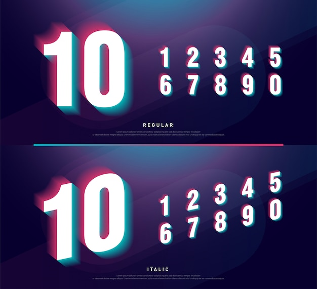 Projeto de fonte de alfabeto de números glitched. manchete de número
