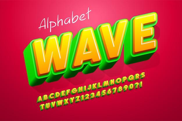 Projeto de fonte de exibição 3d colorido, alfabeto, letras e números.