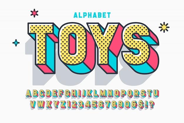 Projeto de fonte de exibição em quadrinhos 3d, alfabeto, letras e números.
