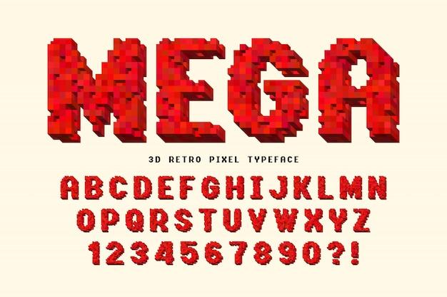 Projeto de fonte de vetor de pixel, estilizado como em jogos de 8 bits.