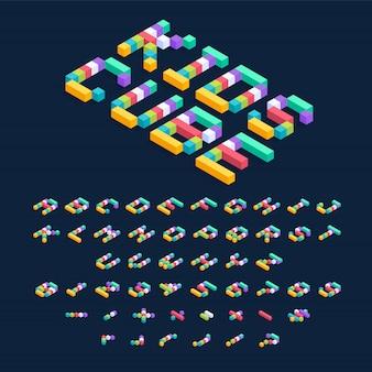 Projeto de fonte isométrica cubos coloridos, letras do alfabeto tridimensional e ilustração de números