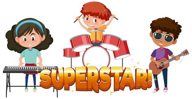 Projeto de fonte para a estrela da palavra com crianças na banda