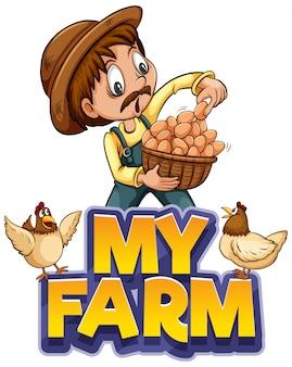 Projeto de fonte para a palavra minha fazenda com fazendeiro e ovos